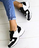 Модные женские замшевые кроссовки кеды кожаные вставки на платформе белые черные JH73KU07-1J