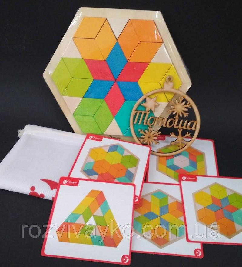 Деревянный 3D пазл - мозаика с заданиями  Classic World