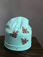 Трикотажная однослойная шапка с пчелками для девочки
