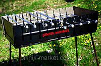 Раскладной мангал чемодан из металла 2мм на 10 шампуров