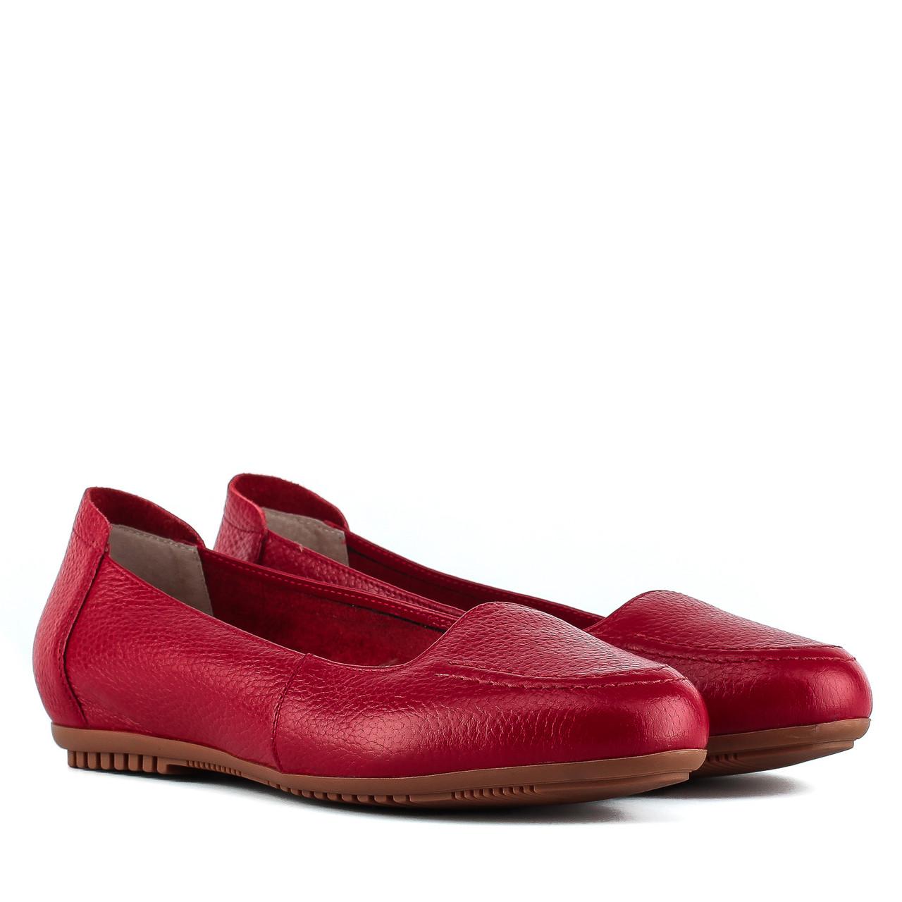Балетки женские Monroe (кожаные, удобные, красного цвета)