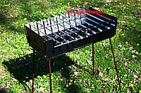 Складной мангал-чемодан на 10 шампуров металл 2мм+кочерга в подарок
