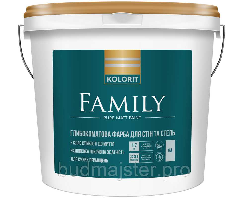 Фарба  KOLORIT Family  Матова фарба для стелі, 9 л