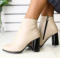 36,38,39,40 Модные демисезонные женские кожаные ботильоны ботинки на широком каблуке бежевые T55ME00-2R