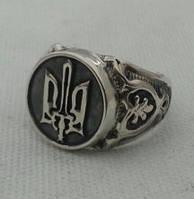 Перстень с Гербом Украины серебро 925 , фото 1