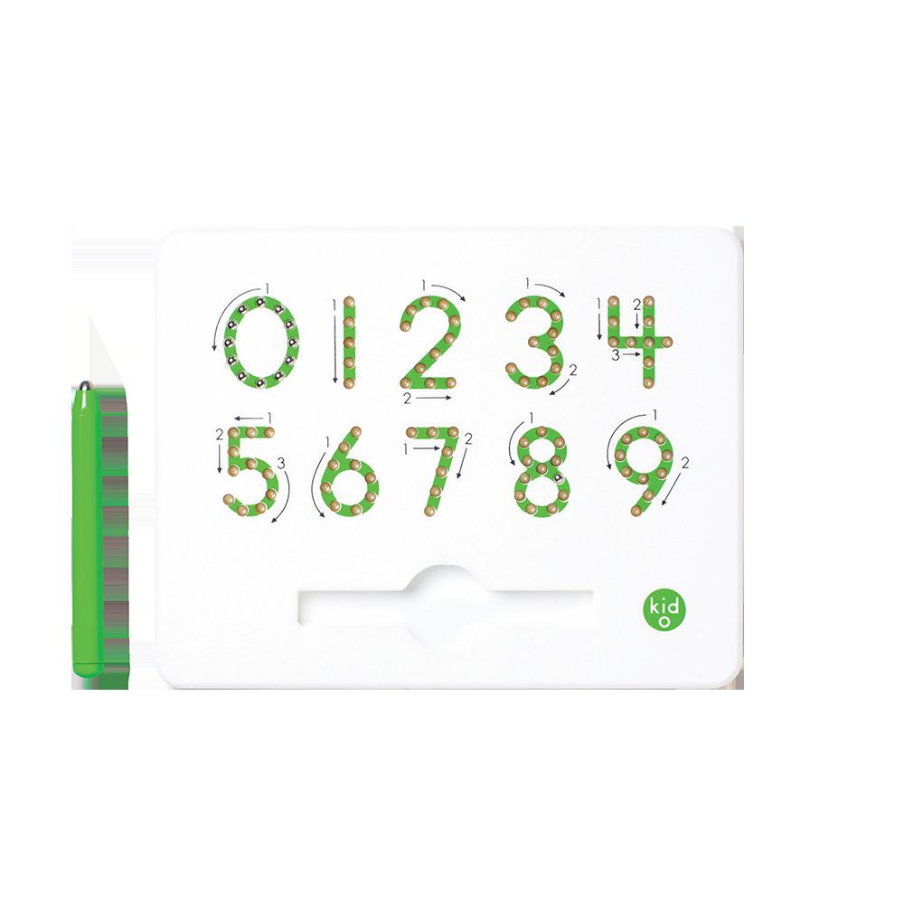 Магнитная доска для изучения цифр от 0 до 9, 3+ (цвет зеленый) Kid O