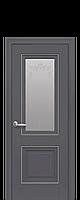 Дверное полотно Имидж Андрацит со стеклом сатин, рисунком и молдингом