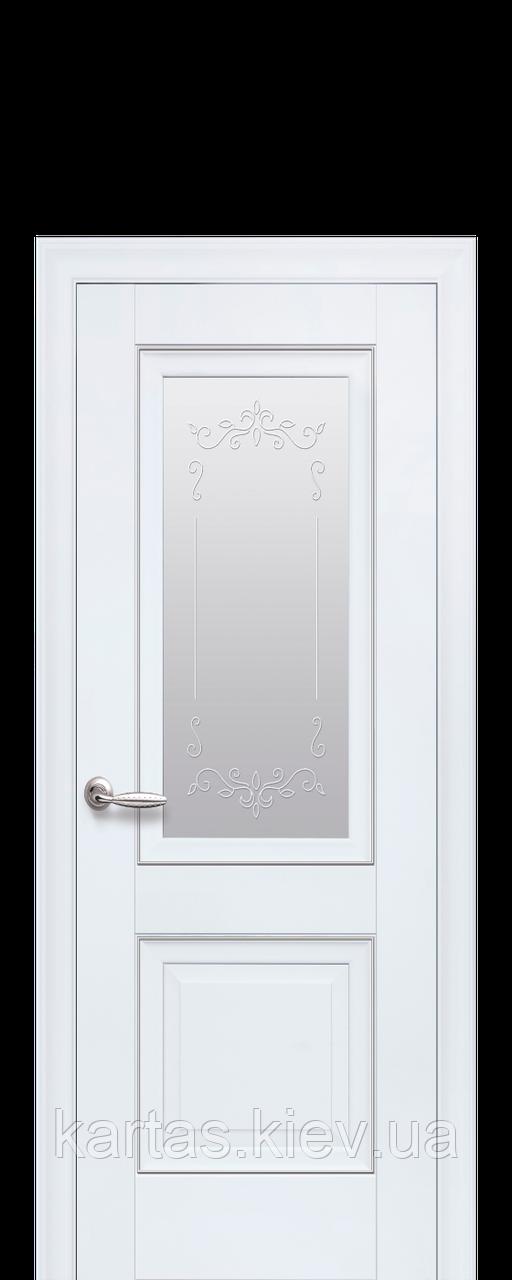 Дверное полотно Имидж Белый матовый со стеклом сатин, рисунком и молдингом