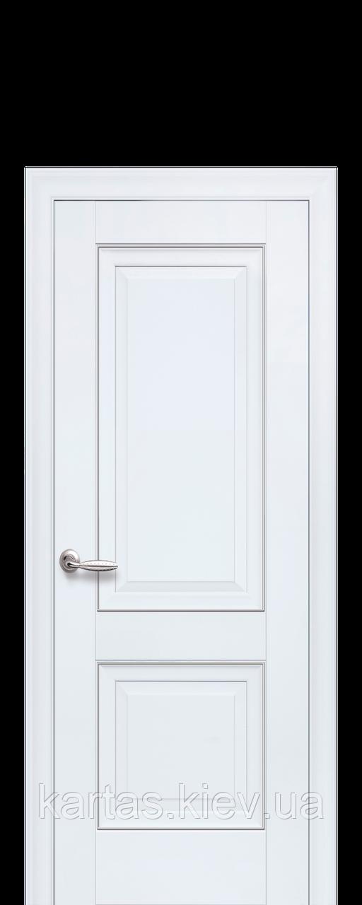 Дверное полотно Имидж Белый матовый глухое с молдингом