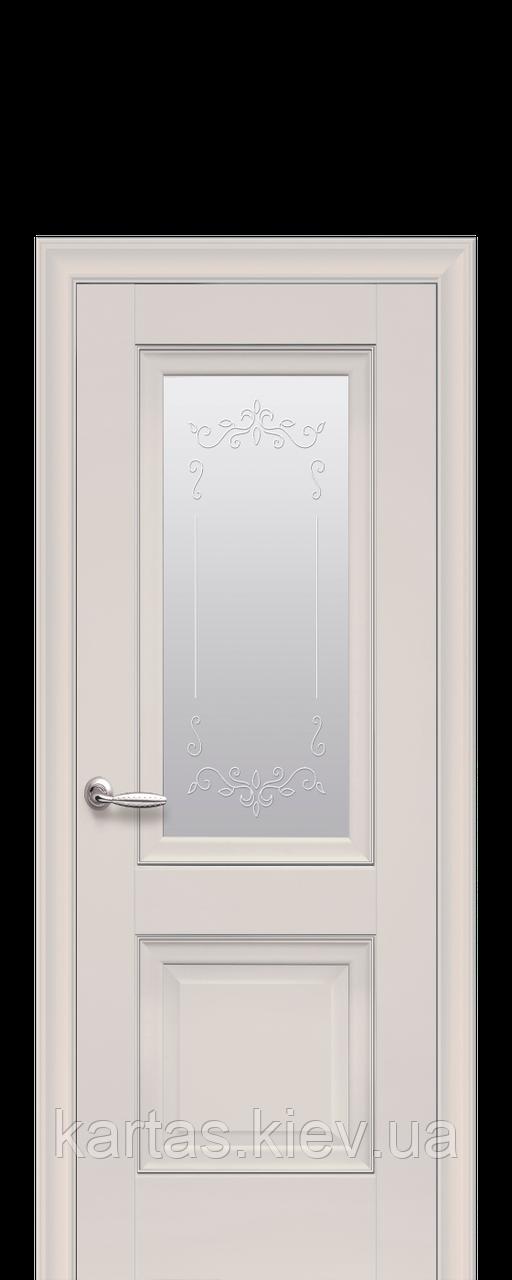 Дверное полотно Имидж Магнолия со стеклом сатин, молдингом и рисунком