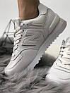 Белые женские кроссовки New Balance 574 из натуральной кожи, фото 4
