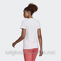 Спортивная футболка Adidas женская белого цвета W E LIN SLIM T DU0629, фото 2