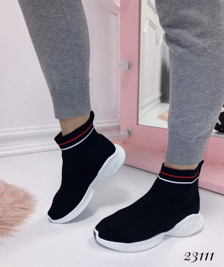 Кроссовки-носочки Balenciaga высокие черные верх полоски. Аналог