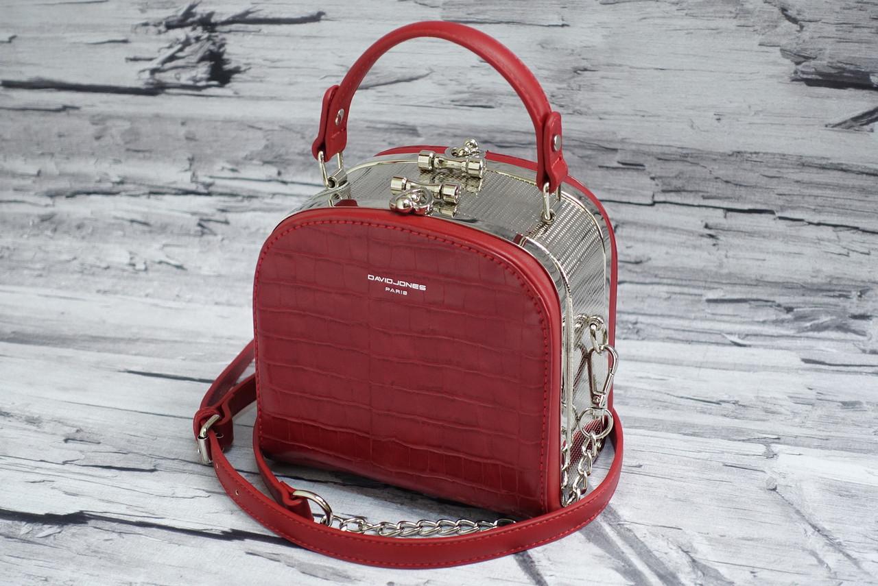 Модный жесткий клатч David Jones 5115 red