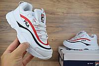 Кроссовки женские в стиле Fila Ray белые с красным (ТОП ААА+), фото 1