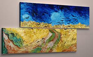 Модульная картина 90х60, репродукция Ван Гог Пшеничное поле с воронами, холст