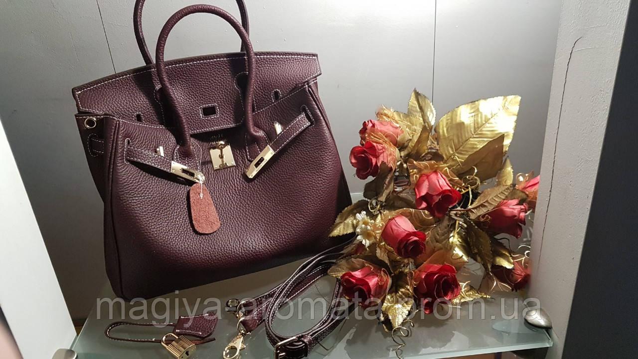 0e24f2299c90 Женская сумка от Hermes 30см марсал белый шов Original quality Гермес Биркин  Эрме
