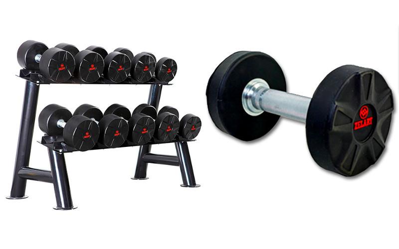 Набор полиуретановых гантелей от 17,5 до 25 кг с горизонтальной стойкой (всего 215 кг)