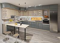 Кухня под потолок угловая графит глянец/дуб молочный матовый