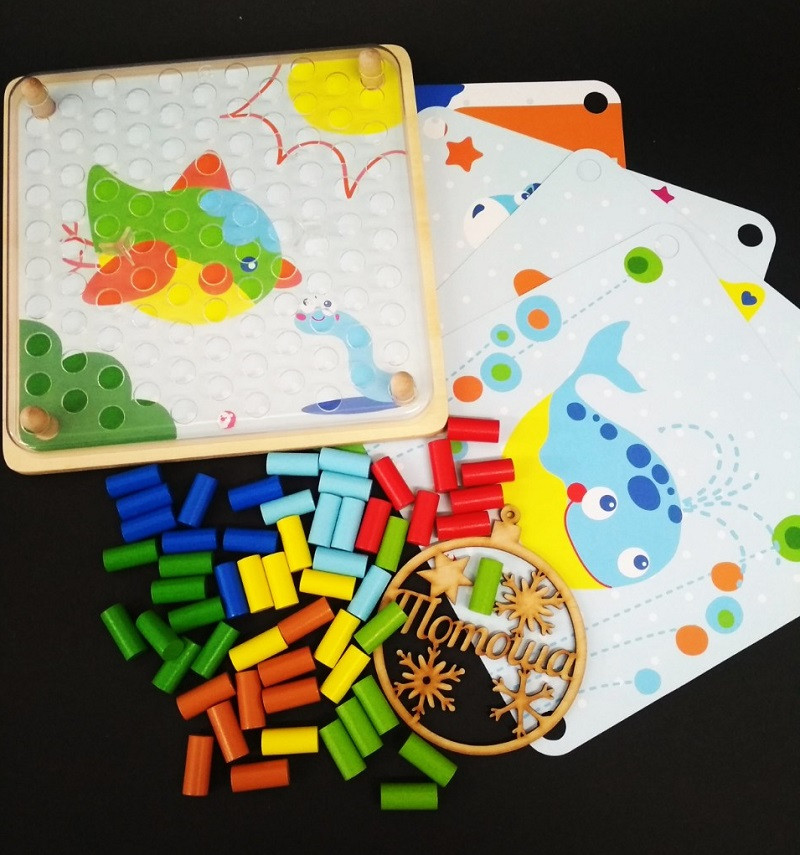 Деревянная мозаика конструктор Цветные колышки / Мозаїка кольорові циліндри Classic World 3586