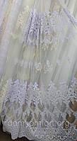 Тюль с вышивкой объемной вышивкой основа-фатин, Турция, фото 1