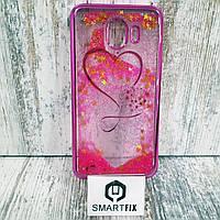 Переливающийся чехол для Samsung J4 2018 (J400)  Розовое сердце