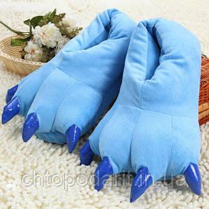 Мягкие тапочки кигуруми голубые лапы Код 10-2512