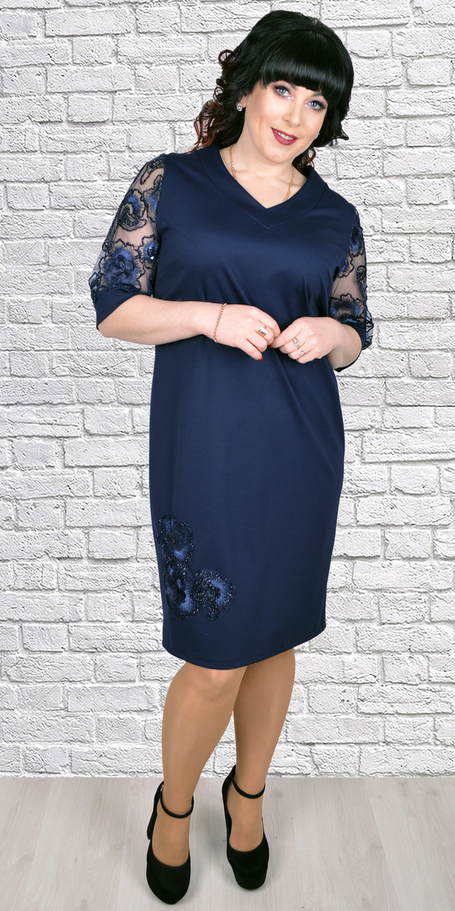 8cfa54f6d43e575 Женское платье из креп-дайвинга 1719, 56,58,60,62: продажа, цена в ...