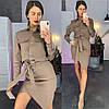 Костюм женский стильный блуза c карманами и юбка с поясом разные расцветки Kld1031