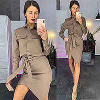 Костюм женский стильный блуза c карманами и юбка с поясом разные расцветки Kld1031, фото 1
