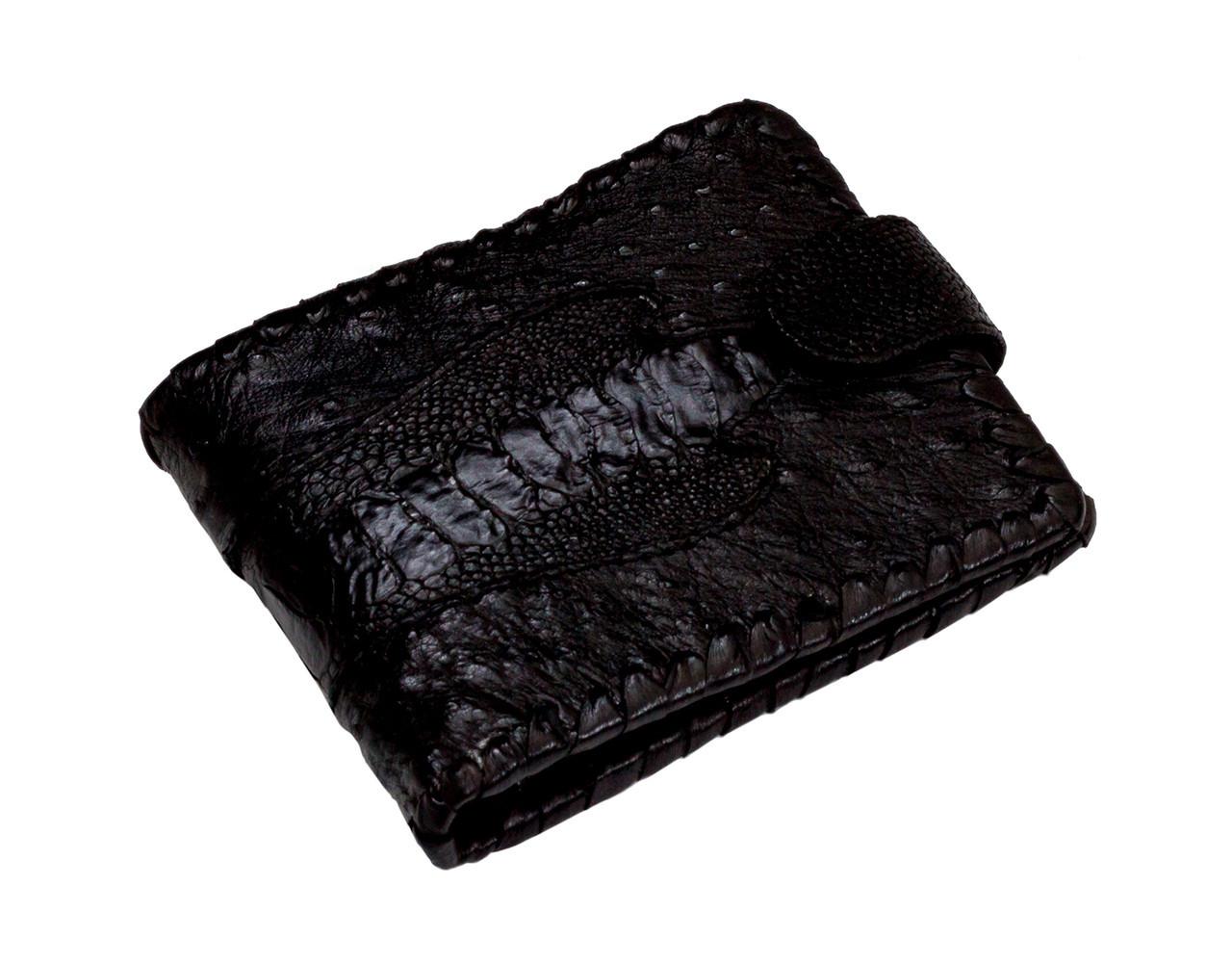 Портмоне из кожи страуса  Ekzotic leather Черное (ow05), фото 1