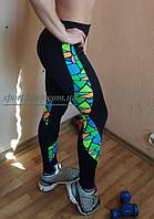 Одежда для фитнеса и пилатеса. Леггинсы / Лосины с цветной вставкой