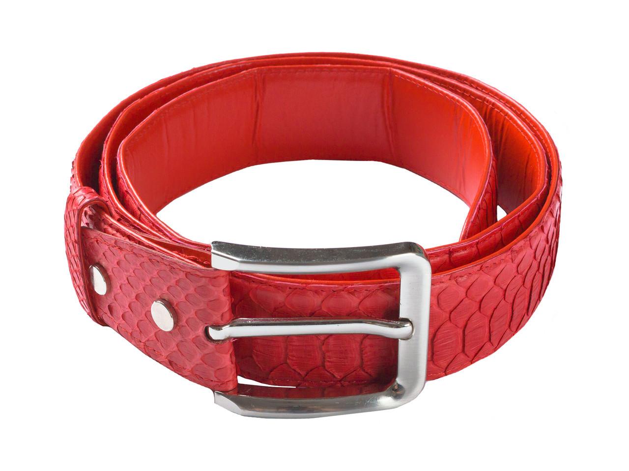 Ремень из кожи питона  Ekzotic Leather Красный (snb07), фото 1