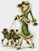 Набор для вышивания крестиком Девушка с пуделями. Размер: 19,5*26,5 см