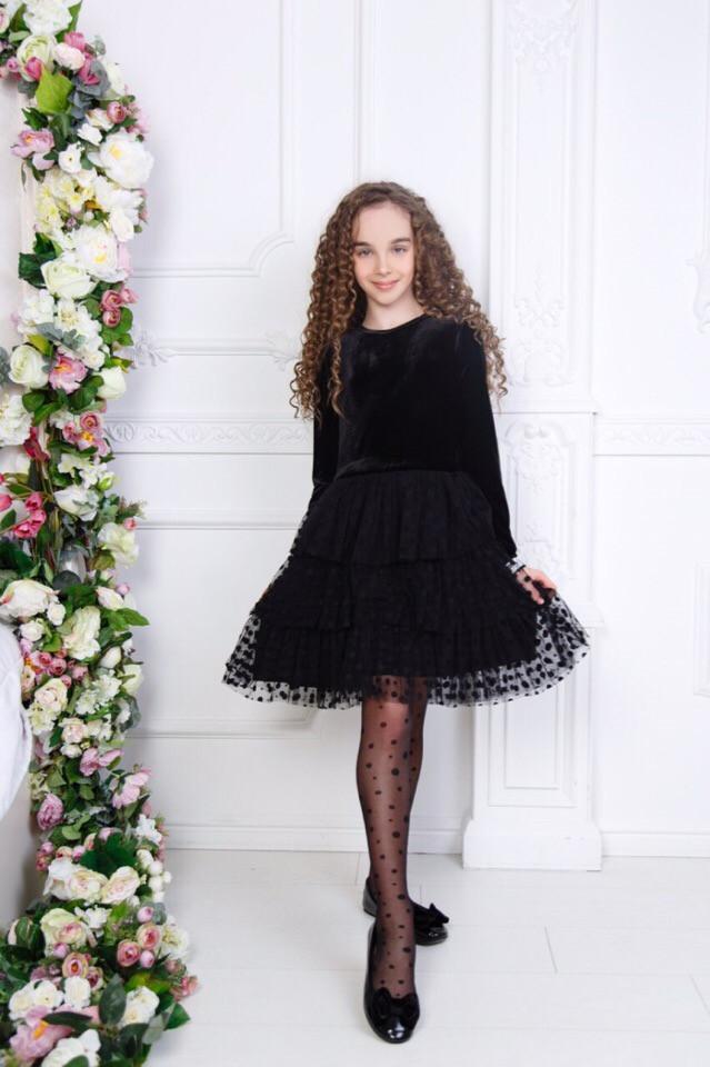 """Нарядное детское платье """"LILLIT"""" с ярусной юбкой из сетки (3 цвета)"""