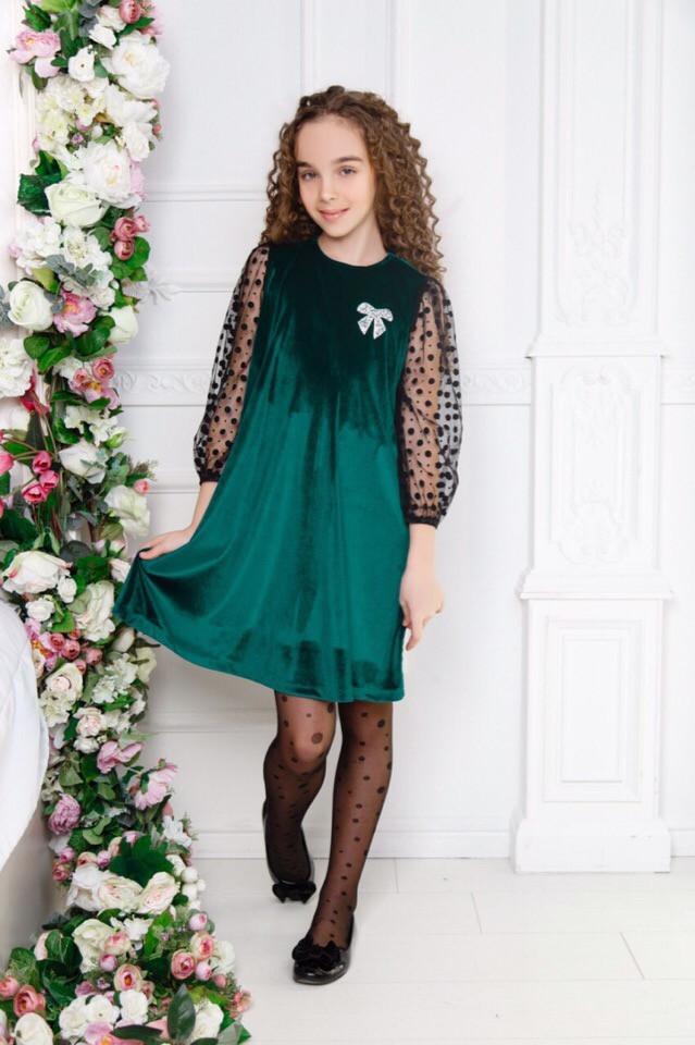 """Нарядное детское бархатное платье """"DANA"""" скарманами (3 цвета)"""
