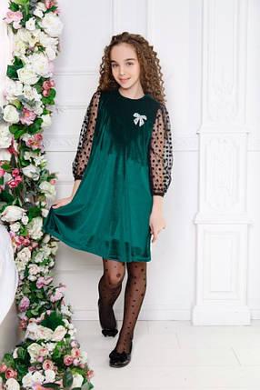 """Нарядное детское бархатное платье """"DANA"""" скарманами (3 цвета), фото 2"""