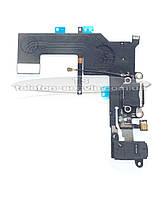 Шлейф для Apple iPhone 5S черный, коннектора зарядки, коннектора наушников, с микрофоном