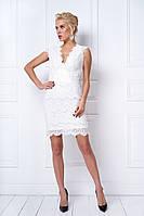 Вечернее белое кружевное платье футляр (S)