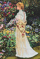 Набор для вышивания крестиком Девушка в саду. Размер: 31,5*45,7см
