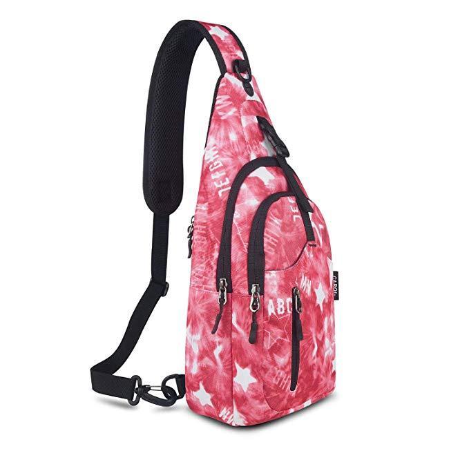 Стильный Рюкзак-слинг городской на одно плечо женский розовый