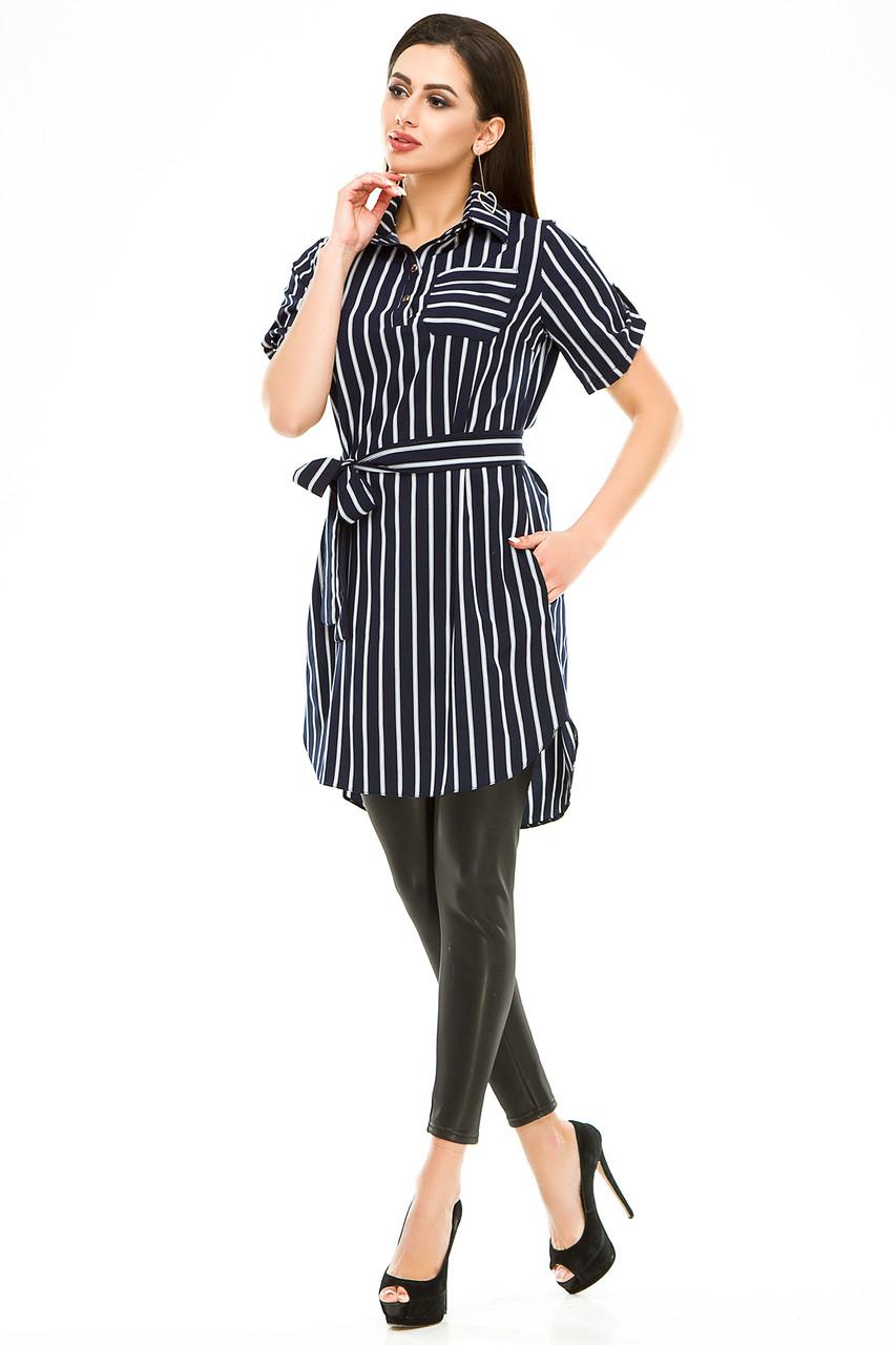 Платье- рубашка 285 синяя полоска