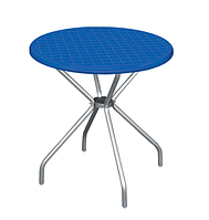 """Стол пластиковый круглый """" Beta"""" диаметр 80*72,5 см алюминиевые ножки Irak Plastik,Турция, синий"""