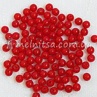 Бусины красные, 6 мм (50 шт)