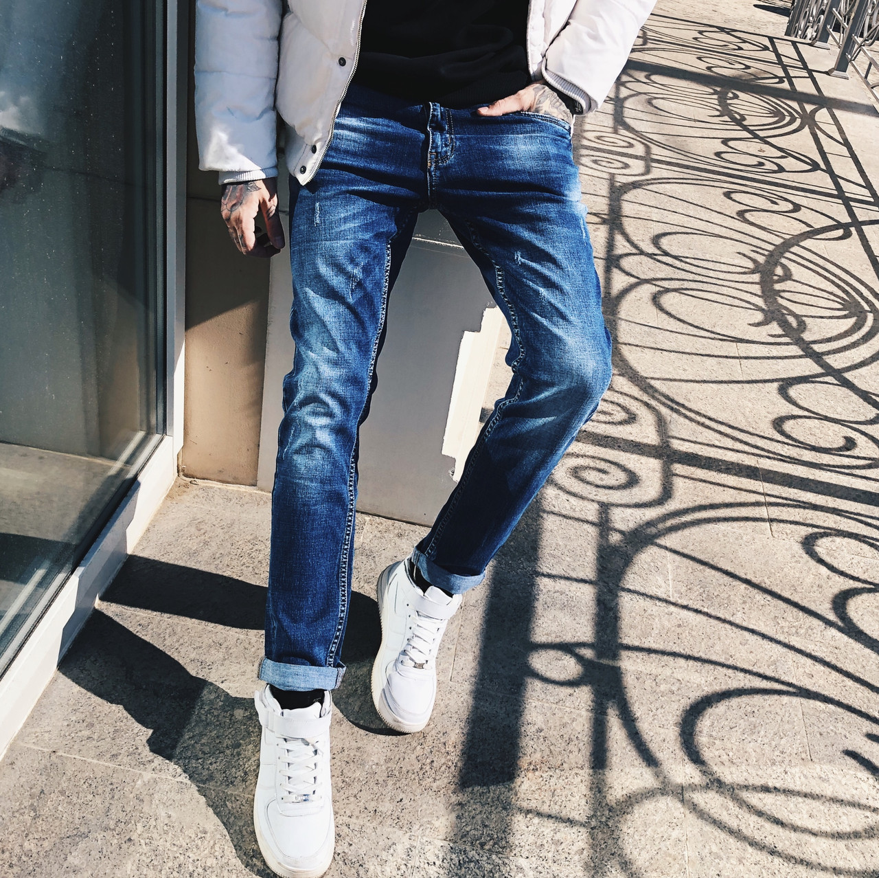 64d1cc616c42b 8005 Resalsa джинсы мужские молодежные с царапками весенние стрейчевые  (27-33, 7 ед.)