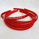 Ободок для волос, обтянутый атласом, красный, 1 см, фото 2