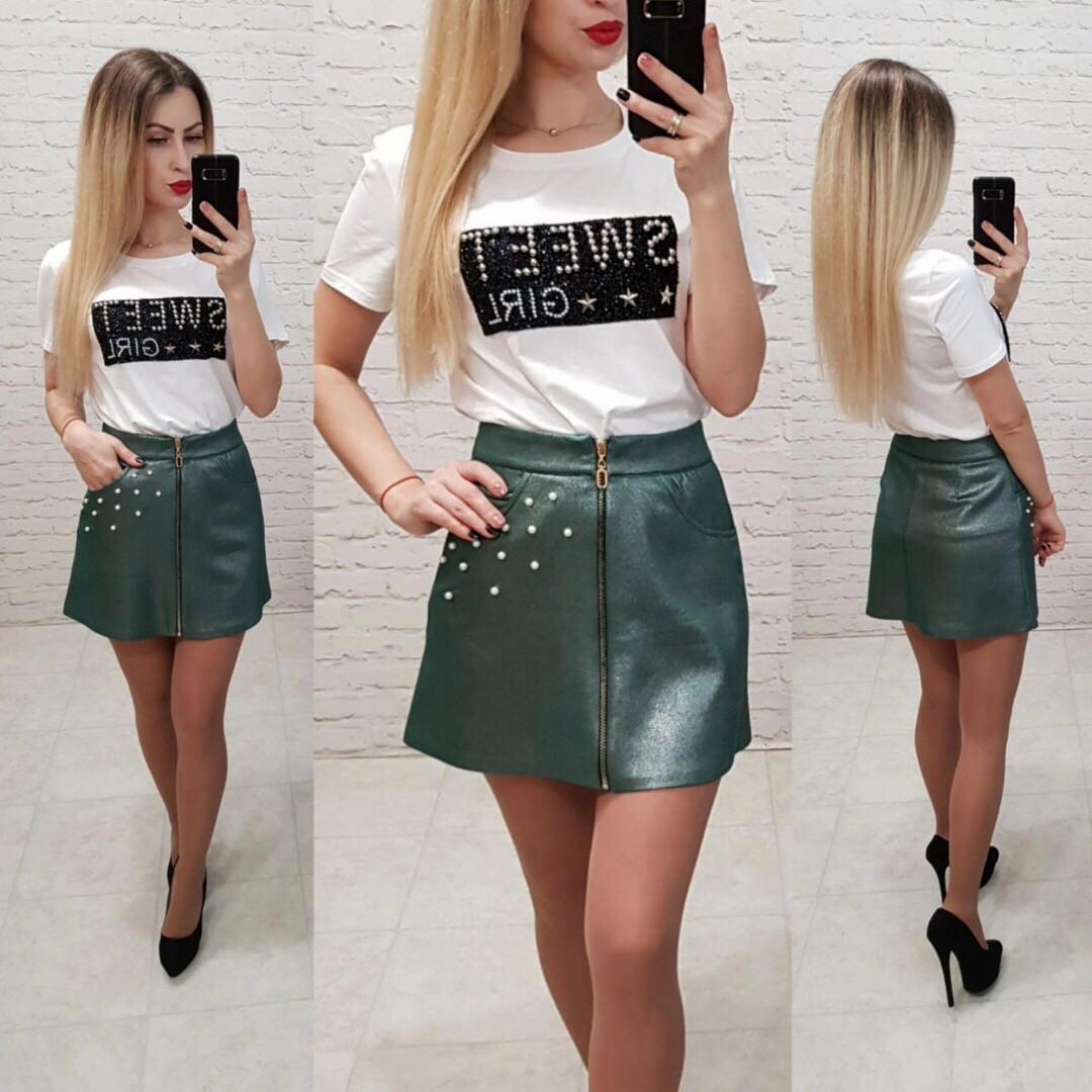 Короткая замшевая юбка с жемчугом