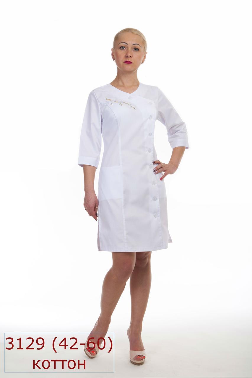 Женский медицинский белый халат с вышивкой 3129, на пуговицах, рукава 3/4, коттон, 42-60