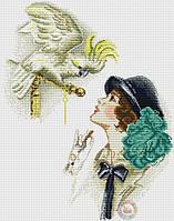 Набор для вышивания крестиком Дама с попугаем. Размер: 26*33,8 см