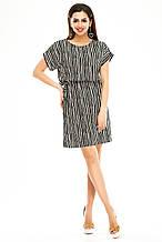 Платье 288 черная полоска с бежевым